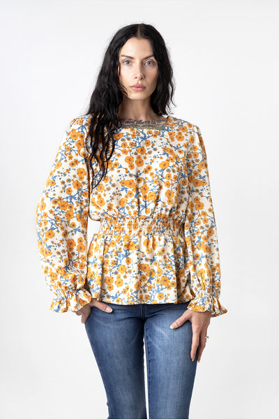 1970s Style California Poppy Print Square Neck Peplum Top