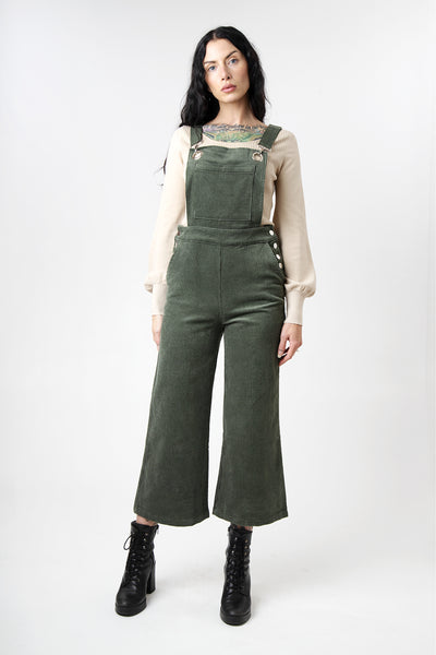 Olive Green Corduroy Cropped Overalls