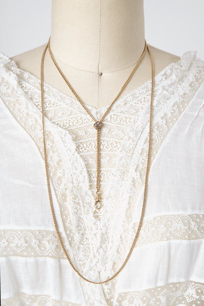 Antique Victorian R. F. Simmons and Co Gold FIlled Ladies Slide Chain Necklace with Pearl Clover Slide