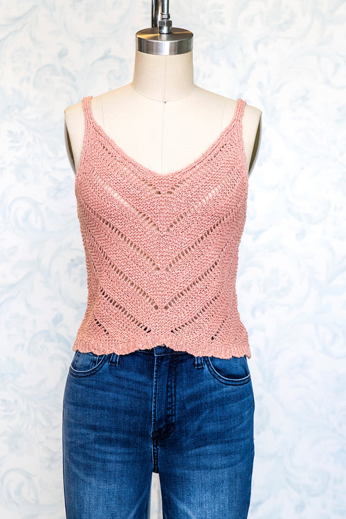 Dusty Peach Cotton Knit Sweater Cami Top with Scalloped Hem