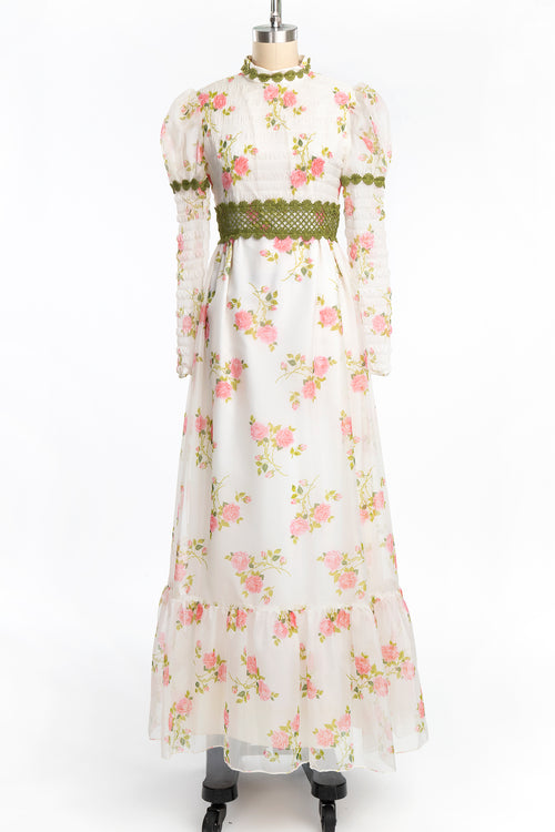 Vintage 1970s Romantic Rose Print Edwardian Style Prairie Dress