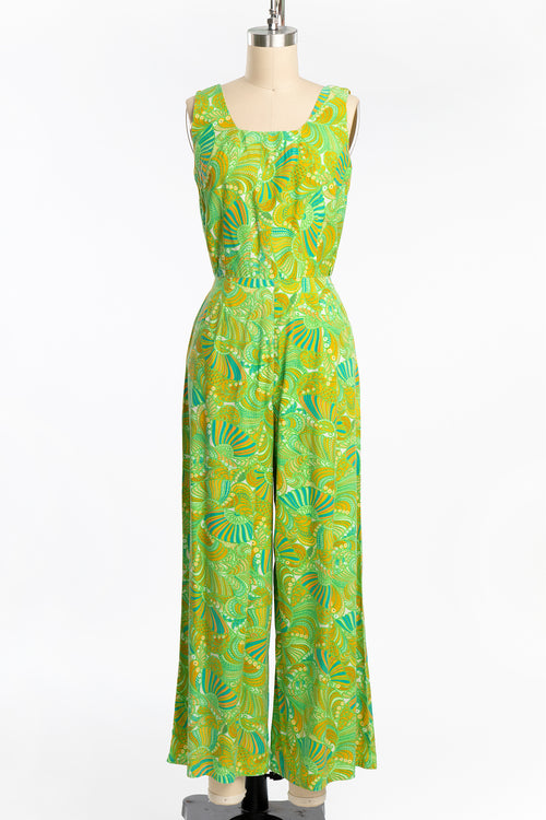 Vintage 1970 Lime Green Psychedelic Cotton Jumpsuit