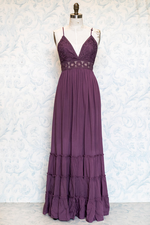 Purple Boho Lace Top Woven Maxi Dress with Tiered Skirt