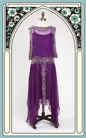 1920s Style Grecian Revival Purple Beaded Flapper Dress