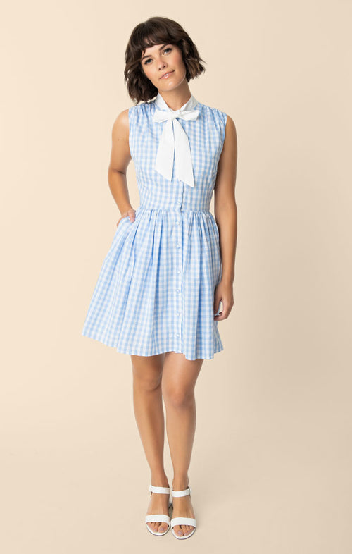 Smak Parlour Light Blue & White Gingham Neck Tie Fit & Flare Queen Bee Dress
