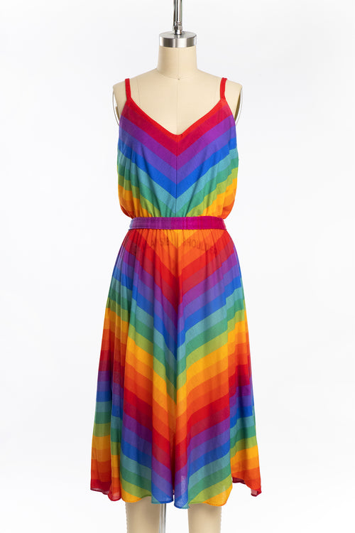 Vintage 1970s Rainbow Chevron Jersey Knit Dress
