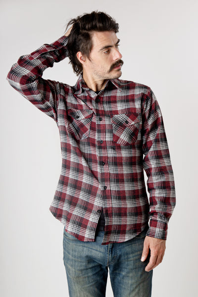 Men's red and gray plaid long sleeve cotton flannel shirt