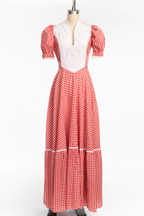 Vintage 1970s Red Gingham and Eyelet Prairie Dress