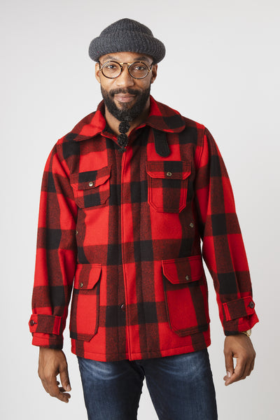 Men's Vintage 1950s Woolrich Red and Black Buffalo Check Heavy Wool Mackinaw Coat