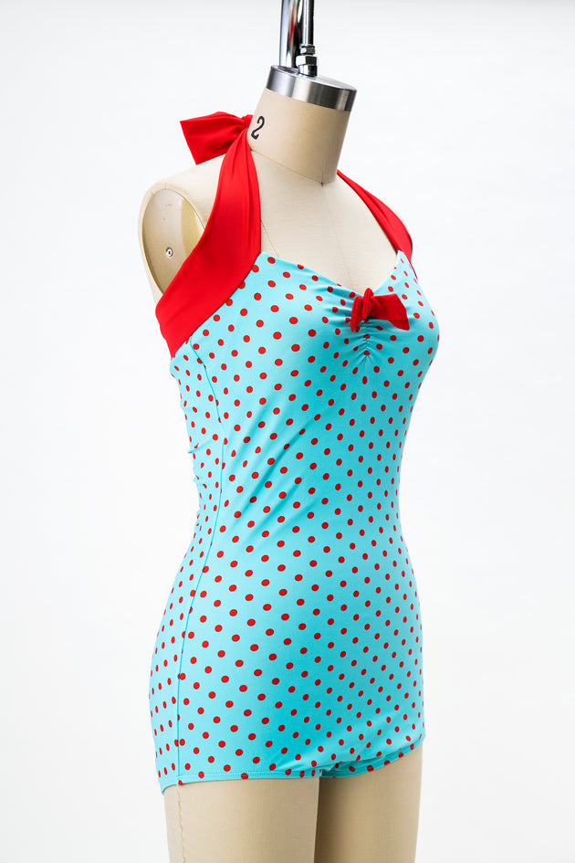 1950s Style Turquoise and Red Polka Dot Swimsuit (Plus Sizes Available)