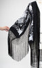1920s Style Black Silk & Silver Floral Embroidered Fringed Kimono Shawl