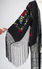 1920s Style Black Silk & Vibrant Floral Embroidered Fringed Kimono Shawl