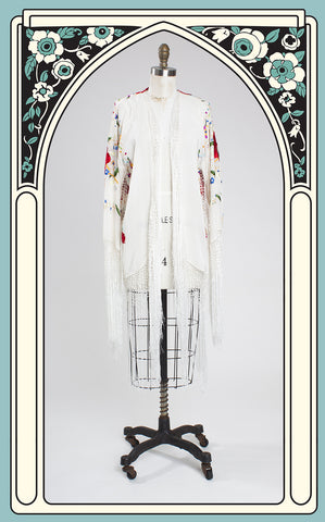 1920s Style White Silk & Vibrant Floral Embroidered Fringed Kimono Shawl