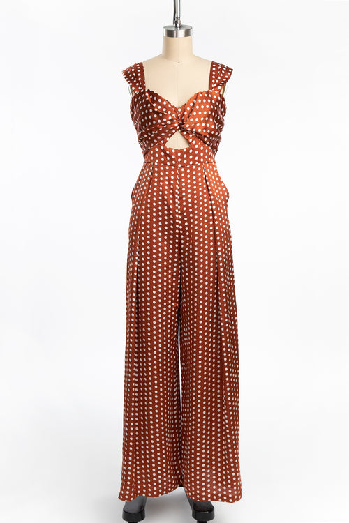 1940s Style Satin Polka Dot Wide Leg Jumpsuit (2 Colors)