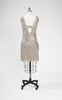 SOLD -- 1920s Style Adrianna Papell Silver Beaded & Sequined Flapper Dress