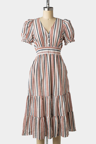 1940s Style Multi Striped Tiered Dress
