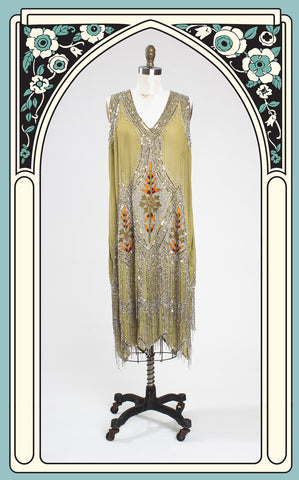 SOLD -- Unique Vintage Green & Silver Embroidered Somerset Flapper Dress XXL