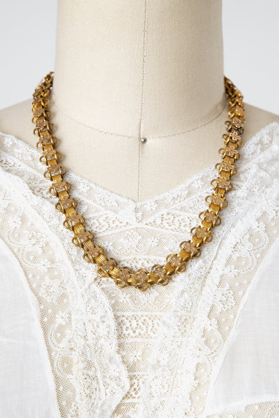 Antique Victorian 14k Rolled Gold Plate Clover Bookchain Necklace