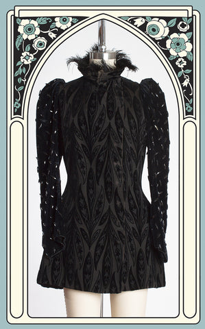 1890s Victorian Belle Epoque Cut Velvet Evening Jacket with Ostrich Feather Collar & French Jet Beaded Sleeves