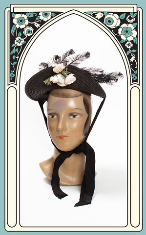 1890s Victorian Black Straw Bonnet with Rose & Feather Accents