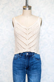 Natural Cotton Knit Sweater Cami Top with Scalloped Hem