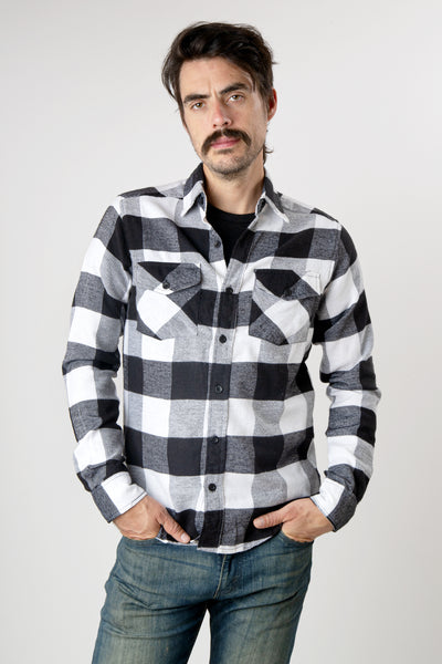 Men's black and white plaid long sleeve cotton flannel shirt