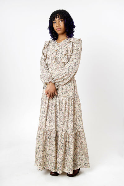 Women's ivory long sleeve ruffled floral prairie maxi dress