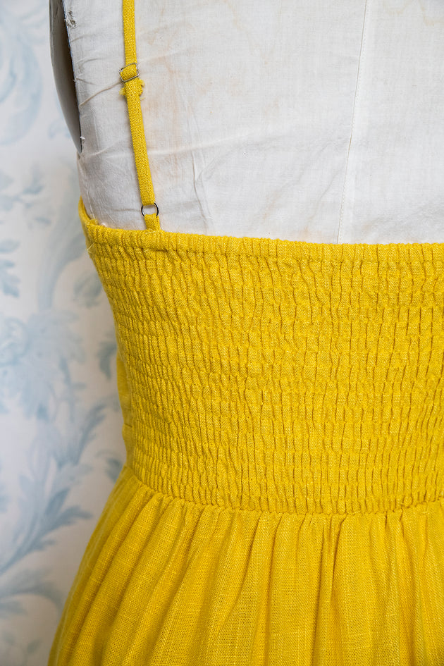 Darling Yellow Summer Dress with Peek-a-Boo Midriff