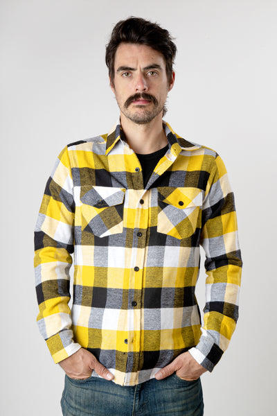 Men's yellow and black plaid long sleeve cotton flannel shirt