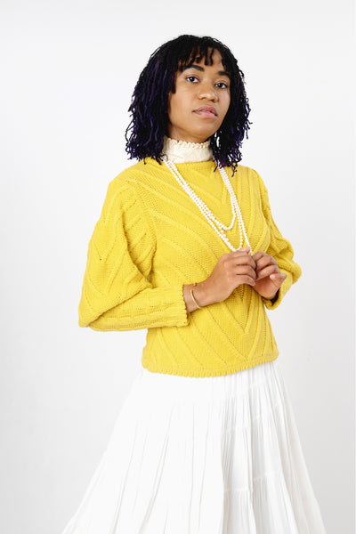Women's marigold yellow puff sleeve cable knit sweater