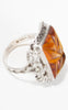 SOLD -- 1930s Sterling Silver Floral Marcasite and Molded Amber Glass Ring