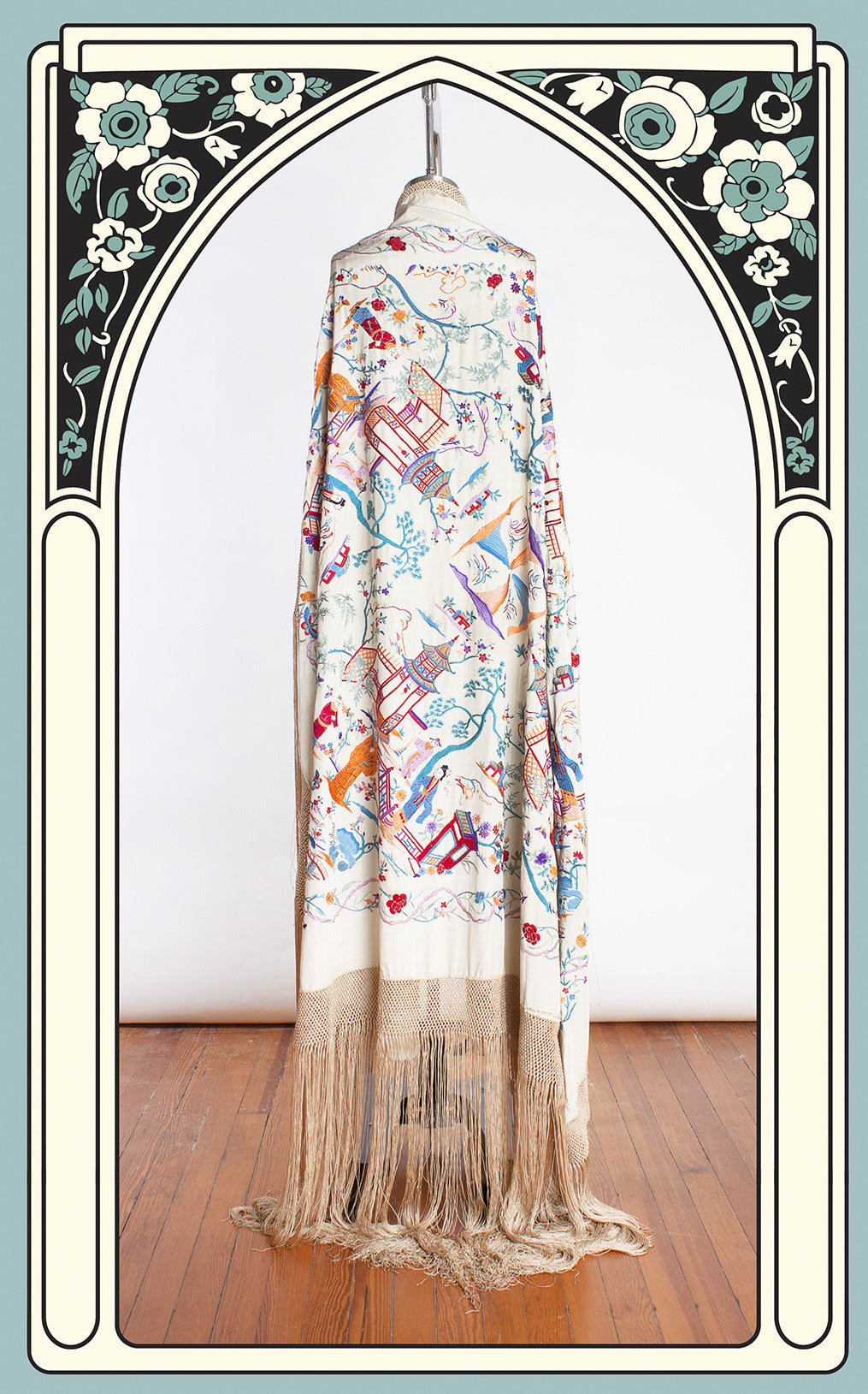 SOLD -- 1920s Ivory Silk Hand Embroidered Asian Motif Piano Shawl