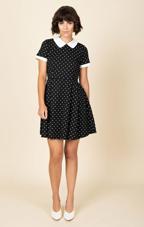 Smak Parlour Black & White Pin Dot Babe Revolution Fit & Flare Dress