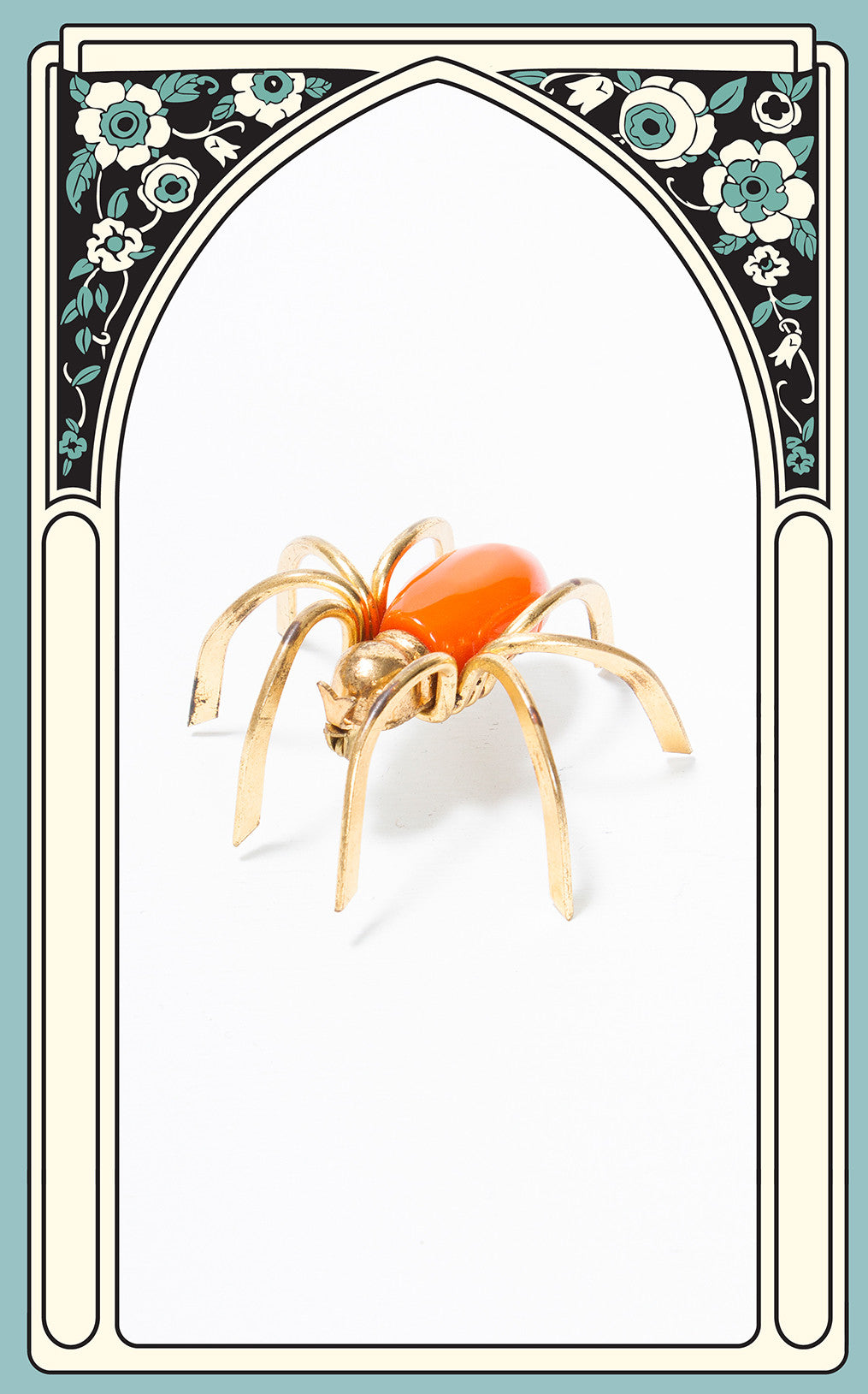 SOLD -- 1930s Orange Bakelite Spider Brooch