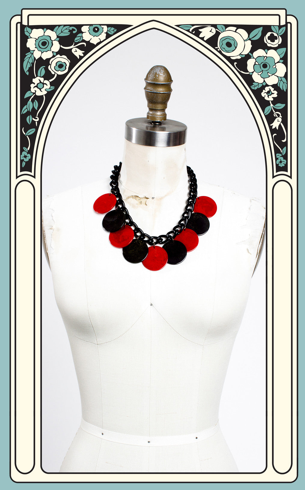 SOLD -- 1940s Marbeled Bakelite Disc Necklace with Cellulloid Chain
