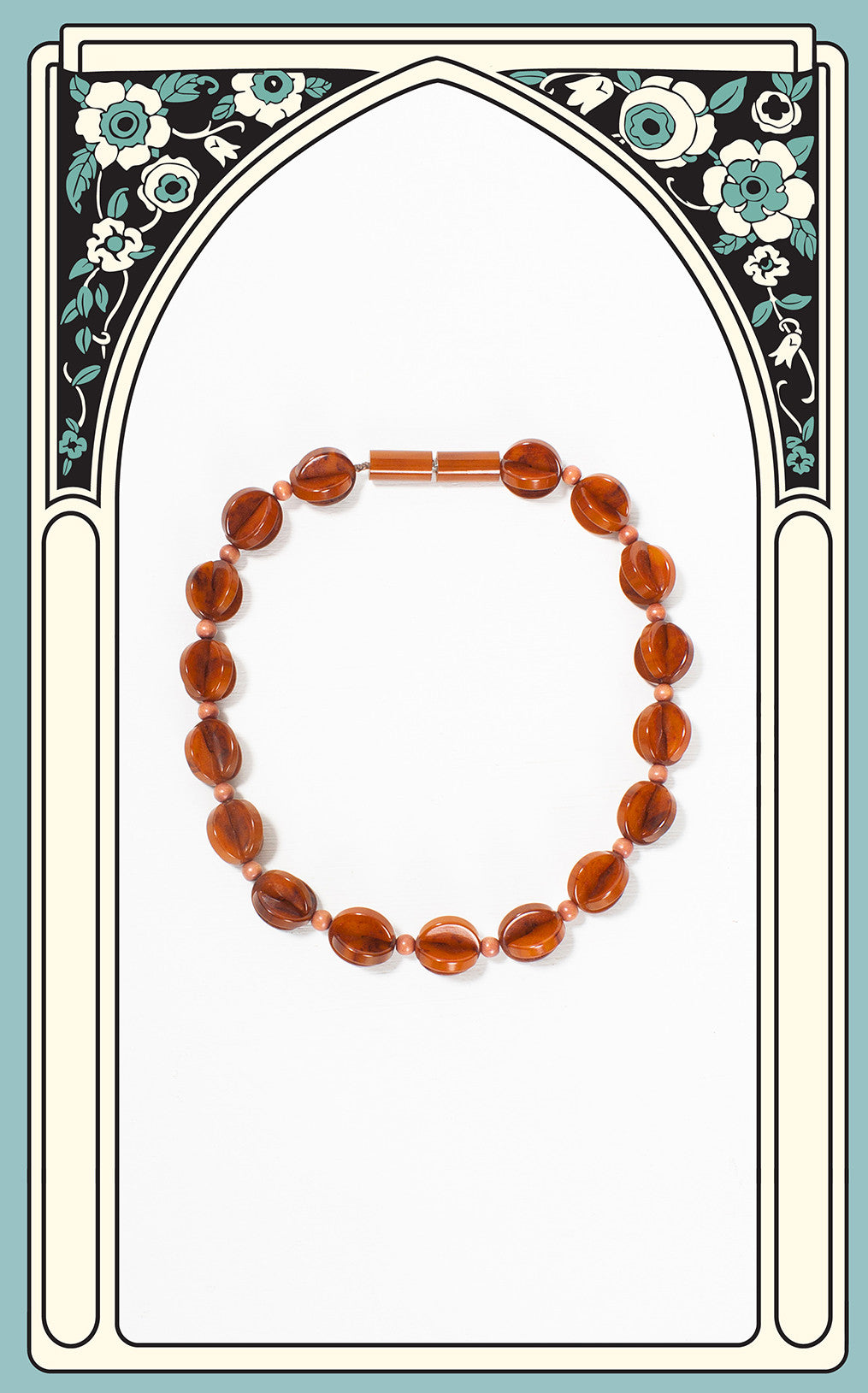 1930s Art Deco Geometric Marbled Rust Bakelite & Wood Choker