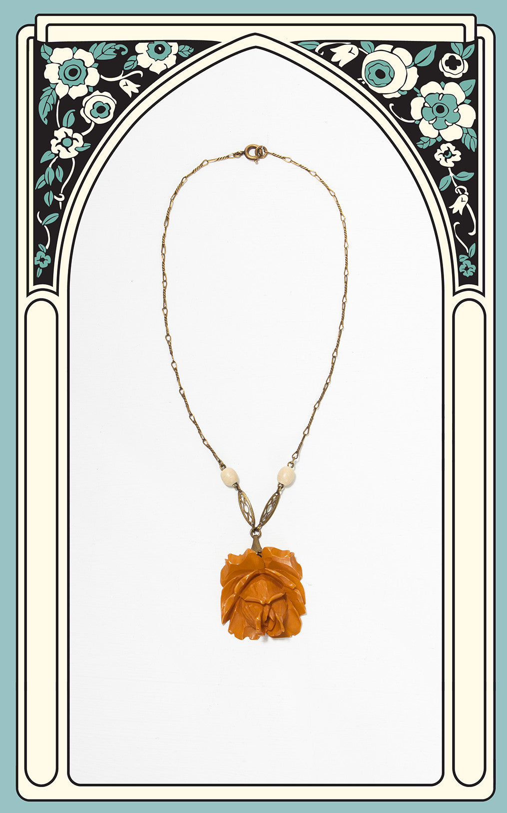 SOLD --1930s Hand Carved Butterscotch Bakelite Rose Pendant on Brass Chain
