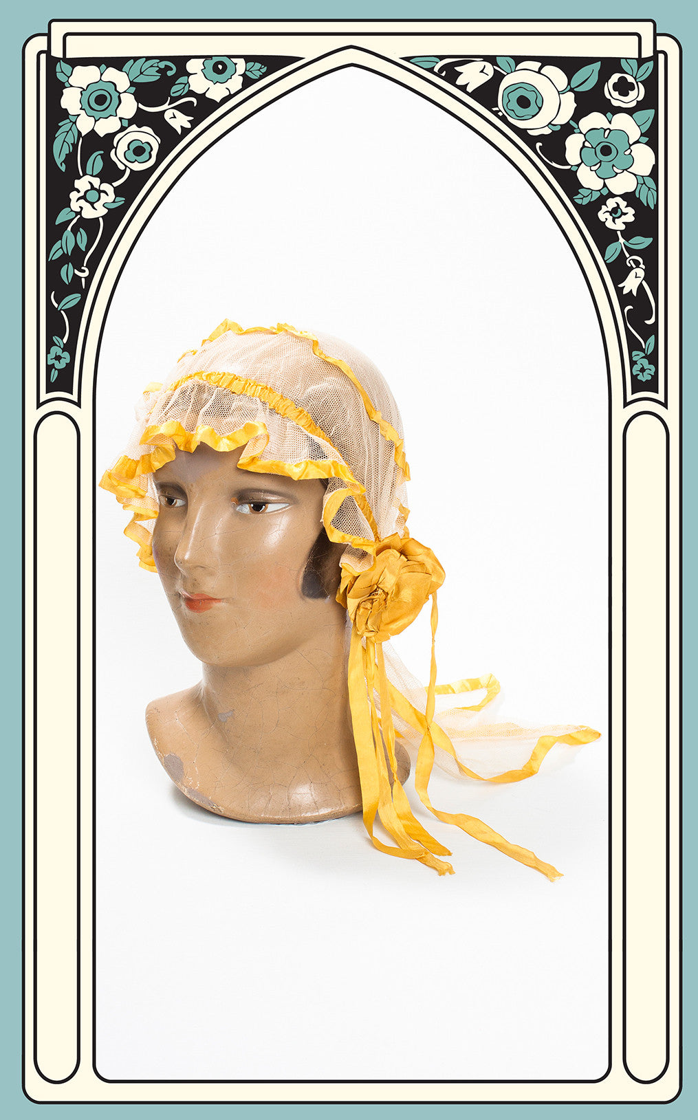 1920s Silk Netted Boudoir Cap with Train & Yellow Silk Ribbon Trim