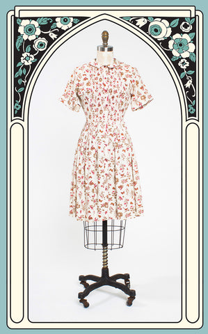 1950s Lady Bird Classics Novelty Bird Print Cotton Shirtwaist Dress