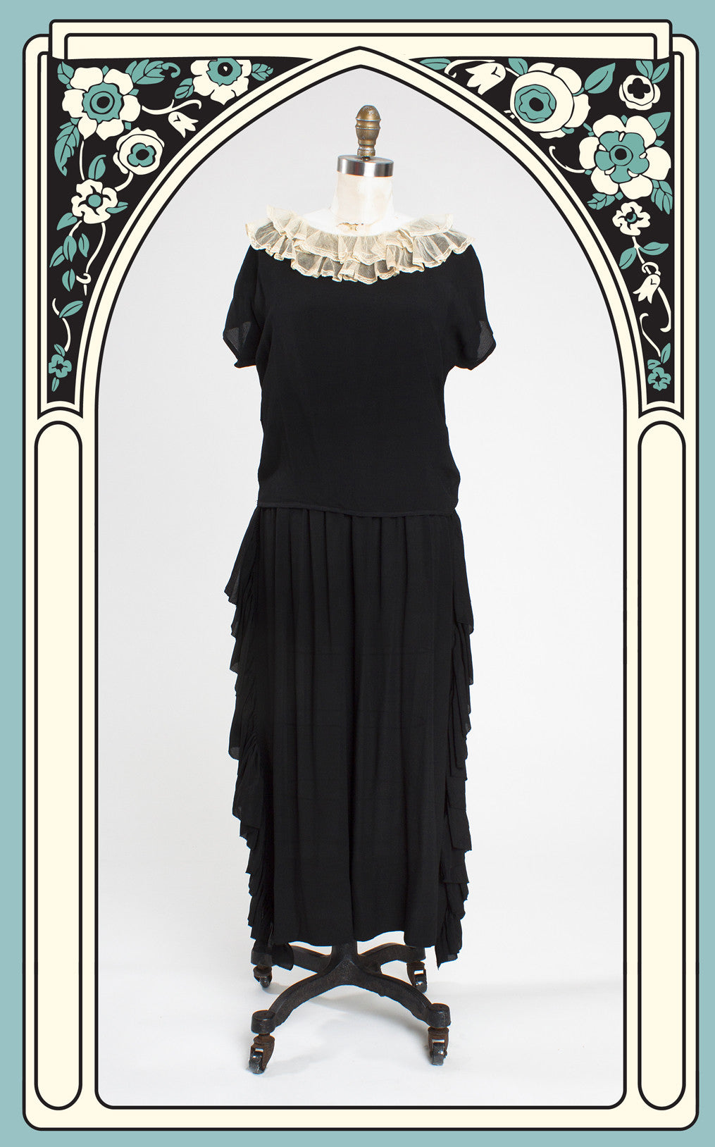 SOLD -- 1920s Silk Chiffon and Lace Two-Piece Dress