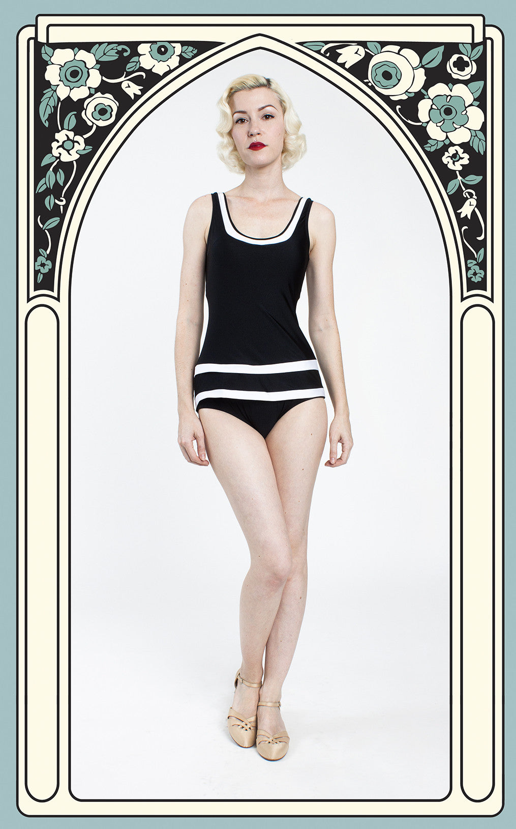 Esther Williams Reproduction 1920s Style Striped Tank Swimsuit in Black