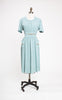 SOLD -- 1940s Gene Rogers Juniors Aqua Day Dress with Acorn Embroidery