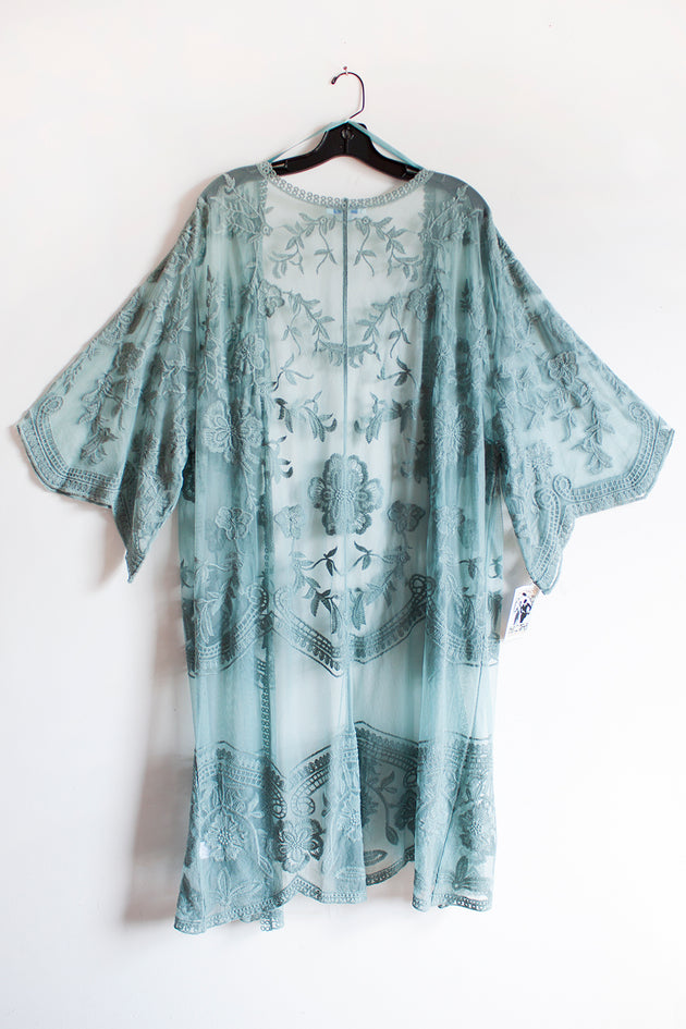 Lace Kimono Sleeve Midi Cardigan Cover Up