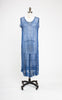 SOLD -- 1920s Blue Silk Chiffon Beaded Floral Flapper Dress