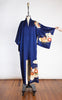 SOLD -- 1950s Royal Blue Omeshi Silk Showa Kimono with Colorful Flowers & Metallic Gold Accents