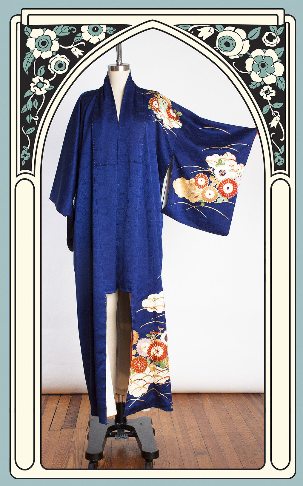 1950s Royal Blue Omeshi Silk Showa Kimono with Colorful Flowers & Metallic Gold Accents
