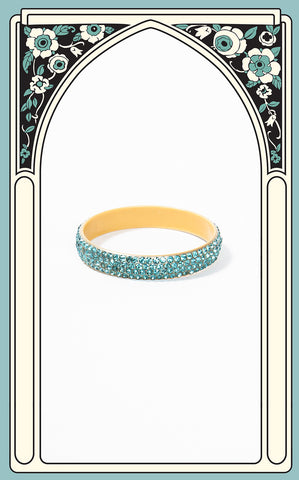 SOLD -- 1920s Art Deco Celluloid and Teal Paste Bangle