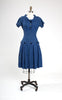 SOLD -- 1950s Blue Plaid Drop-Waist School Girl Dress