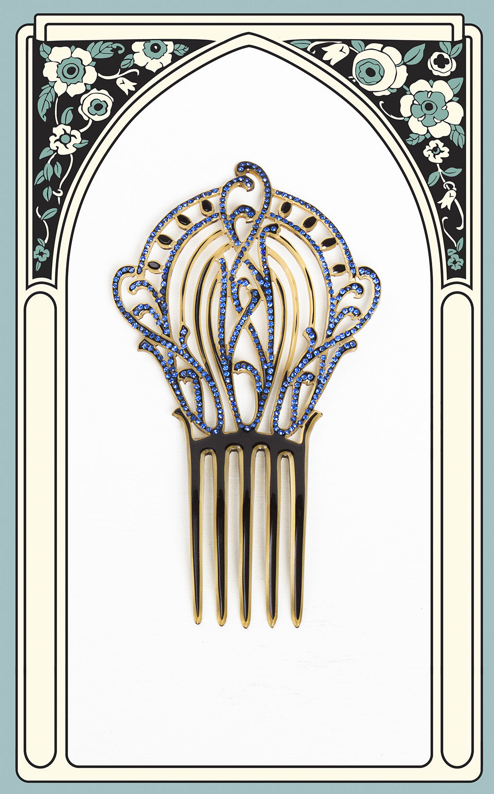 1910s Art Nouveau Paste and Celluloid Hair Comb