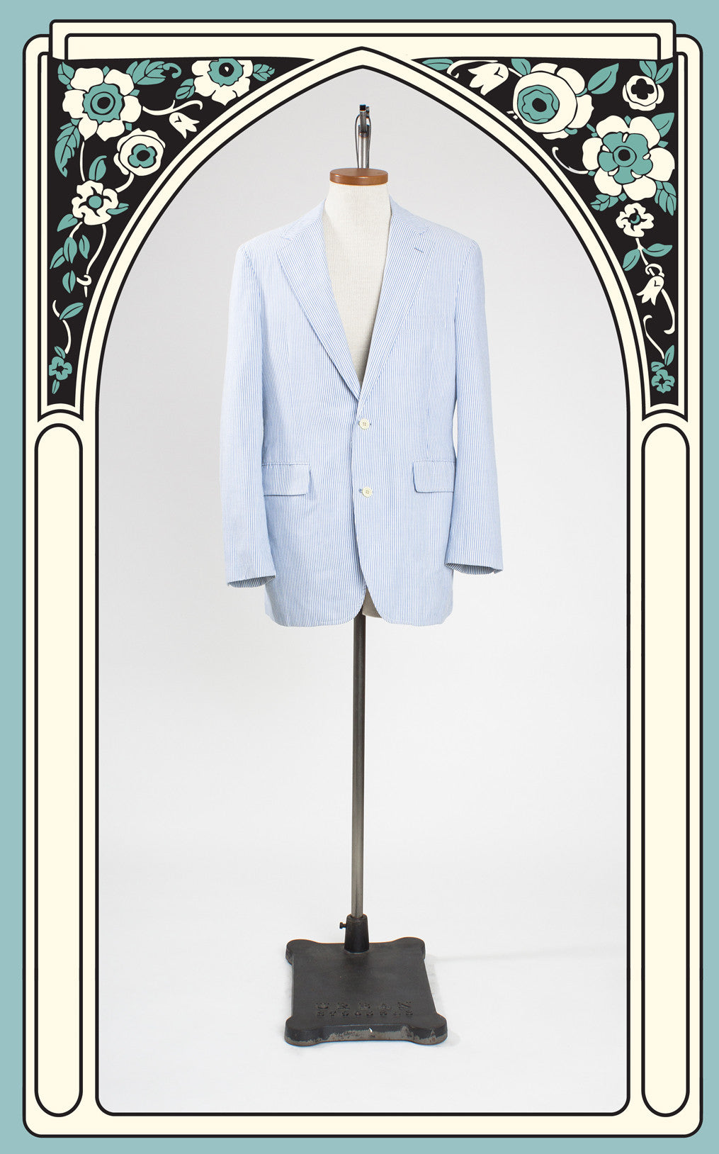 SOLD -- 1960s Filene's Blue Seersucker Jacket